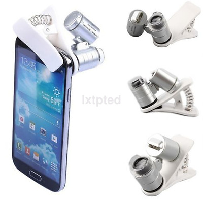 60X Zoom Microscope Clip Magnifier Camera LED Micro Lens For All Cell Phone ~