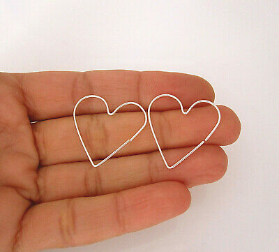 "Yellow or rose gold filled or sterling silver 1"" HEART endless hoops earrings"