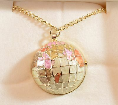 Unusual weighty gold tone & enamel globe pendant necklace watch & chain- boxed