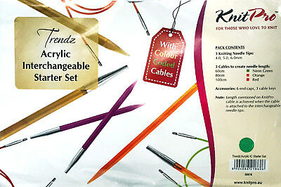KnitPro Trendz Interchangeable Knitting Needle Starter Set with Coloured Cables