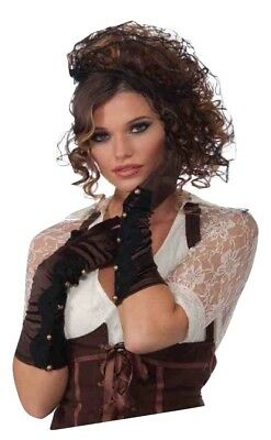 Long Elbow Length Gloves Steampunk Victorian Leather Costume Brown Women Lace
