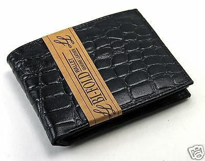 Mens Bifold Genuine Leather Wallet Alligator Print Black Zipper Multi Card Slots