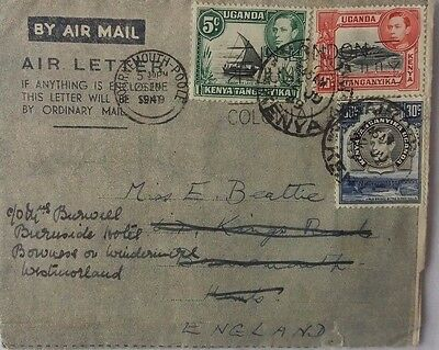 Kenya 1949 Three Colour Franking Aerogramme With Message Showing Tick Drawing