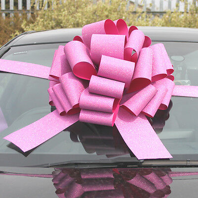 "MEGA BIG CAR BOW (16"") for Cars, Large Birthday & XMAS Gifts - GLITTER PINK"