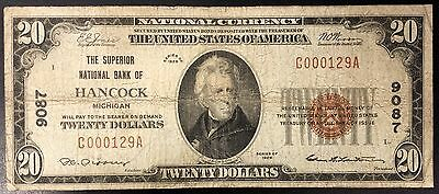1929 Twenty Dollars Nat'l Currency, The Superior National Bank of Hancock, MI!