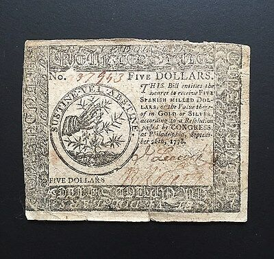 1778 $5 FIVE Dollars Spanish Milled Currency Note Paper Money ~ Signed