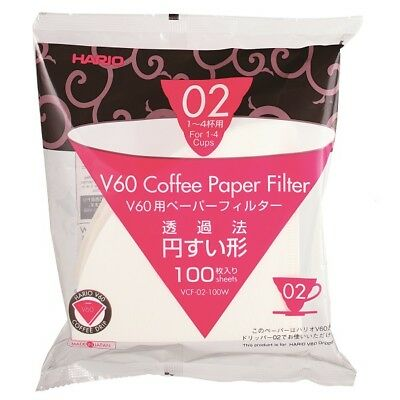 Hario V60 Coffee Paper Filter for Drip Size 02 1-4 cups VCF-02-100W 100x sheets