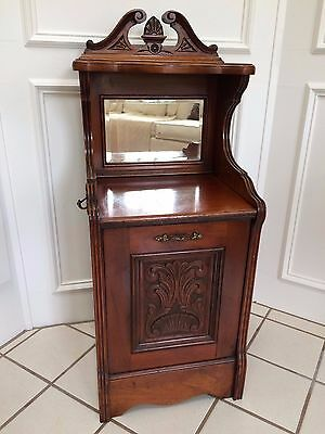 Rare Antique English Victorian Mahogany Coal Hod Night Stand Mirrored End Table