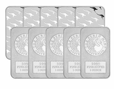 Lot of 5 - 1oz Australian Perth Mint Silver Kangaroo Bar .9999 Fine