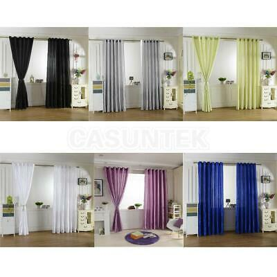 Smooth Satin Thermal Blackout Curtains Sheer Voile Window Panel With Slot Top