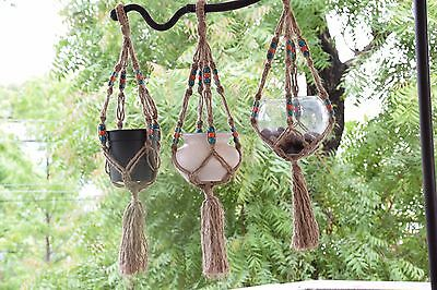 set of 3 handmade Macrame Jute plant hanger with wooden beats 30 inches