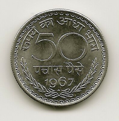 World Coins - India 50 Paise 1967 Coin KM# 58