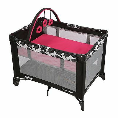 GRACO PACK AND PLAY w/BAG Play Pen Infant Baby Girl Sleep Play Travel EZ Fold