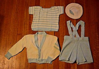 Vintage Baby Boy Outfit Sweater Top Shorts w/ Suspenders and Hat Blue White