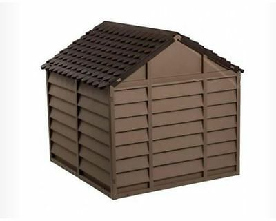 Plastic Dog House Dogs Kennel LARGE Puppy Shelter Dark Brown Outdoor Winter