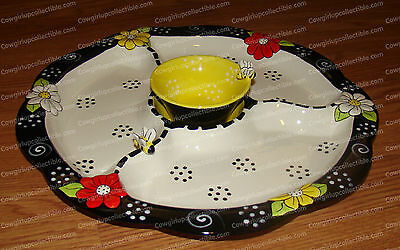 """14"""" Sectioned Server (To Bee Collection, 45691) Chip, Dip, Cheese Party Tray"""