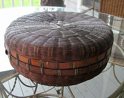 Antique Chinese Woven Bamboo Reed Sewing Basket ~ Estate Piece