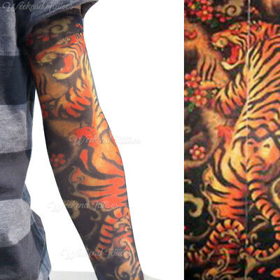 Tiger Lion Animal Slip on  Elastic Stocking Fake Arm Temporary Tattoo Sleeves