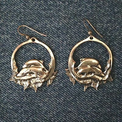 Sterling SIlver Double Dolphin Hoop Pierced Earrings signed