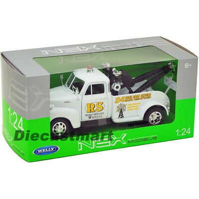 "1953 Chevrolet 3800 Tow Truck White ""road Service"" 1:24 By Welly 22086 Diecast"