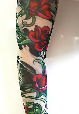 Red Rose Nylon Slip on  Elastic Stocking Fake Arm Temporary Tattoo Sleeves