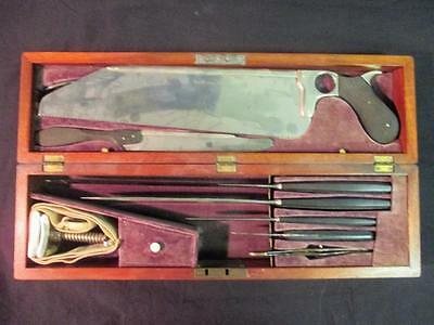 1800's Antique Wooden Cased Post Civil War Surgical Amputation Kit