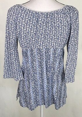 Maternity Top Size Medium Empire Waist 3/4 Sleeves Lace Details Announcements