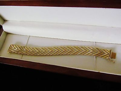 "Beautiful 18ct 0.750 Rolled Gold Chunky 1/5"" Wide Herringbone 8"" Bracelet ~ RARE"