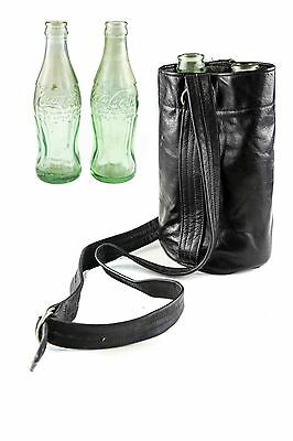Set of 2 Vintage Green Glass Coca Cola Bottles w/ Leather Carrying Case