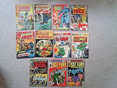 lot of 11 SGT. Fury, SGT. Rock, GI. Combat, Unknown Soldier, Fighting Army