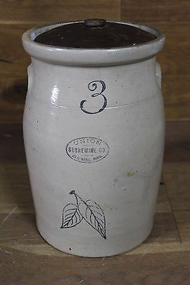 Union Stoneware Co. 3 Gallon Ceramic Crock Pot Butter Churn With Lid Red Wing MN