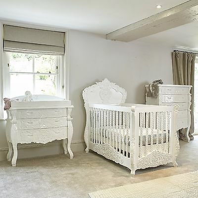 French Italian baby cot / cot bed in white hand carved mahogany Rococo