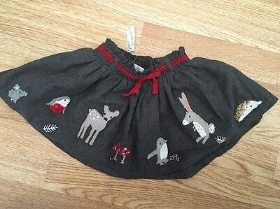 Next Signature Baby Girls Embroidered Woodland Skirt 9-12 Months Bnwt