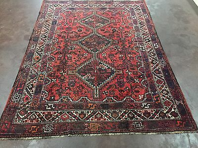 """Semi Antique Hand Knotted Persian Abadeh-Shiraz Geometric Rug Carpet 5'4""""x7'1"""""""