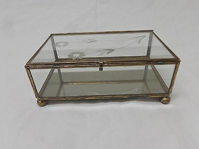Vintage Brass and Glass Mirror bottom Jewelry Trinket Box with Etched Lid