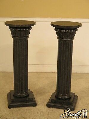 L41899E: Pair Italian Faux Marble Decorated Pedestal Stands