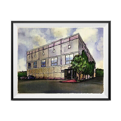 Pam Beesly The Office Building Watercolor Painting Poster Dunder Mifflin 11 x 17