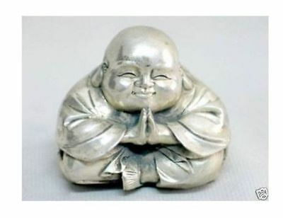 Chinese tibet silver carved happy buddha figurine+
