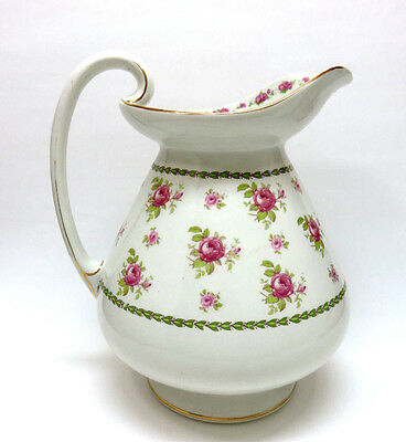 Antique Weatherby ENGLAND Large Pottery Wash Basin Pitcher w/ Pink Roses