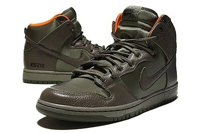 NIKE SB DUNK HIGH FRANK KOZIK OLIVE GREEN STEEL ORANGE QS janoski  313171-328 NIB 7a67427d70794