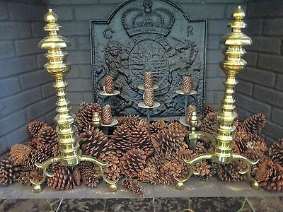 "Antique 24"" SOLID Brass Andiron Firedog English Colonial Design Lacquered"
