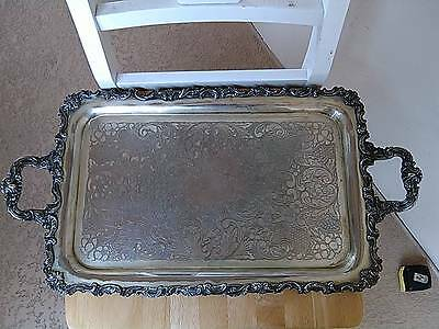 Vintage SILVERPLATED  COPPER TRAY 25 X 13 FOOTED