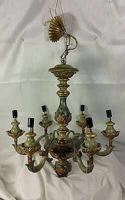 Carved , wooden & gesso Painted 6 Light Italian Rococco Chandelier shabby chic