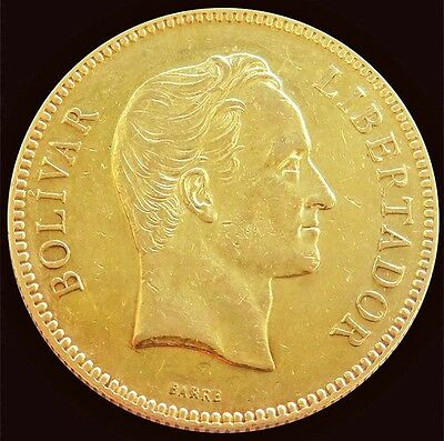 1887 Gold Venezuela 100 Bolivares Simon Bolivar Coin About Uncirculated