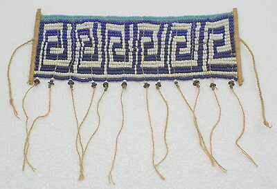 Guyana Wai Wai Seed Beaded Traditional Necklace Small Apron Native Amazon Blue