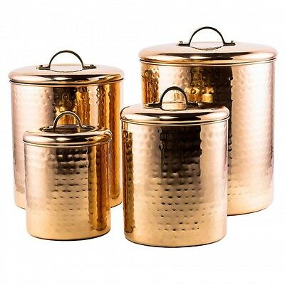 Hammered Copper Canisters Set of 4 Kitchen Storage Cans Lids Coffee Sugar Flour