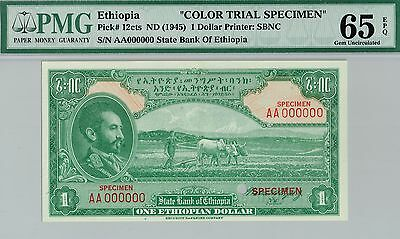 COLOR TRIAL SPECIMEN. Ethiopia $1. PMG 65 EPQ Gem Uncirculated. Pick#12cts