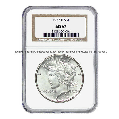 VERY RARE 1922-D $1 Peace Silver Dollar NGC MS67 GEM graded Denver coin