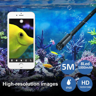 1080P HD InspectionCamera Video WIFI Endoscope 8LED waterproof Kit For Iphone 5M
