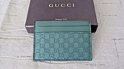 NICE! $250 Authentic GUCCI GG Green Leather & Stainless Steel Money Clip Wallet